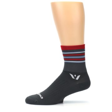 Image of Gray Red Stripe Men's Crew Athletic Socks (side-2-11)