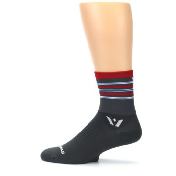Image of Gray Red Stripe Men's Crew Athletic Socks (side-2-12)