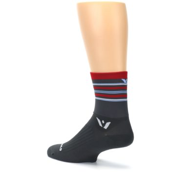 Image of Gray Red Stripe Men's Crew Athletic Socks (side-2-back-14)