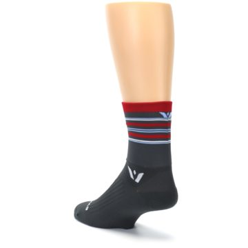 Image of Gray Red Stripe Men's Crew Athletic Socks (side-2-back-15)