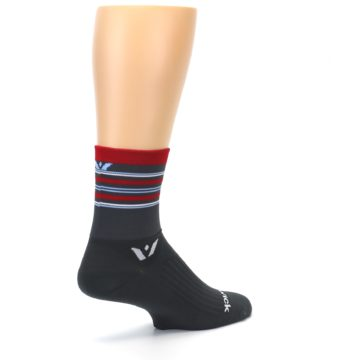 Image of Gray Red Stripe Men's Crew Athletic Socks (side-1-back-22)