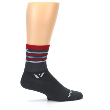 Image of Gray Red Stripe Men's Crew Athletic Socks (side-1-24)