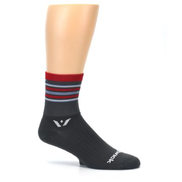 Image of Gray Red Stripe Men's Crew Athletic Socks (side-1-25)