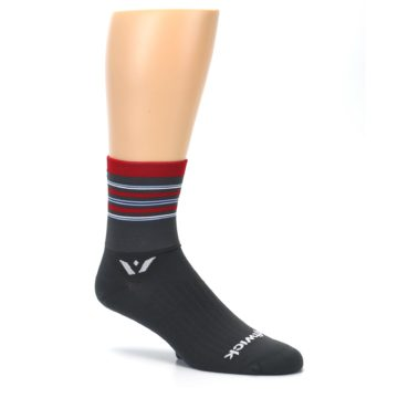 Image of Gray Red Stripe Men's Crew Athletic Socks (side-1-26)