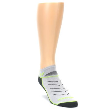 Image of Gray Lime Vibe Zero Men's No-Show Athletic Socks (side-1-front-02)