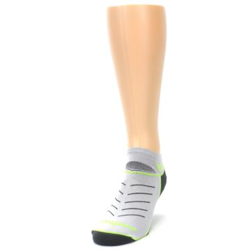Image of Gray Lime Vibe Zero Men's No-Show Athletic Socks (side-2-front-06)