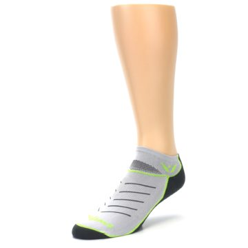 Image of Gray Lime Vibe Zero Men's No-Show Athletic Socks (side-2-front-08)