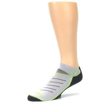 Image of Gray Lime Vibe Zero Men's No-Show Athletic Socks (side-2-09)