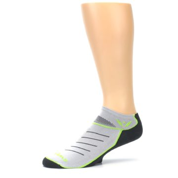 Image of Gray Lime Vibe Zero Men's No-Show Athletic Socks (side-2-10)