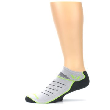 Image of Gray Lime Vibe Zero Men's No-Show Athletic Socks (side-2-11)