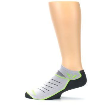 Image of Gray Lime Vibe Zero Men's No-Show Athletic Socks (side-2-12)