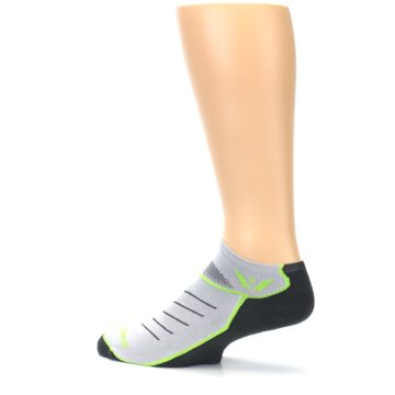 Image of Gray Lime Vibe Zero Men's No-Show Athletic Socks (side-2-13)