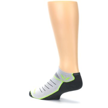 Image of Gray Lime Vibe Zero Men's No-Show Athletic Socks (side-2-back-14)