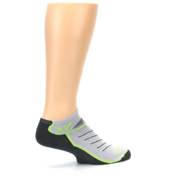 Image of Gray Lime Vibe Zero Men's No-Show Athletic Socks (side-1-23)