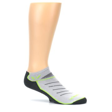 Image of Gray Lime Vibe Zero Men's No-Show Athletic Socks (side-1-25)