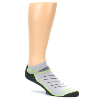 Image of Gray Lime Vibe Zero Men's No-Show Athletic Socks (side-1-26)