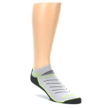 Image of Gray Lime Vibe Zero Men's No-Show Athletic Socks (side-1-27)