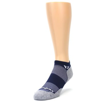 Image of Gray Navy Maxus Zero Men's No-Show Athletic Socks (side-2-front-07)