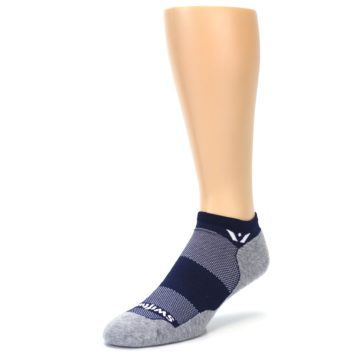 Image of Gray Navy Maxus Zero Men's No-Show Athletic Socks (side-2-front-08)
