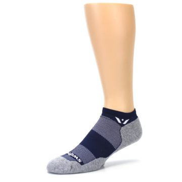 Image of Gray Navy Maxus Zero Men's No-Show Athletic Socks (side-2-09)