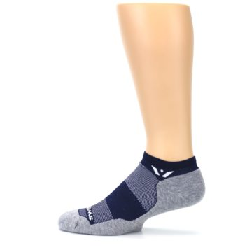 Image of Gray Navy Maxus Zero Men's No-Show Athletic Socks (side-2-12)