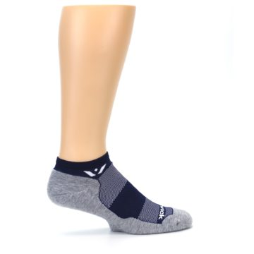 Image of Gray Navy Maxus Zero Men's No-Show Athletic Socks (side-1-24)