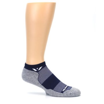 Image of Gray Navy Maxus Zero Men's No-Show Athletic Socks (side-1-25)