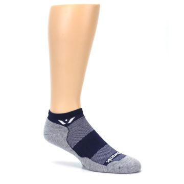 Image of Gray Navy Maxus Zero Men's No-Show Athletic Socks (side-1-26)