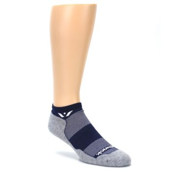 Image of Gray Navy Maxus Zero Men's No-Show Athletic Socks (side-1-27)