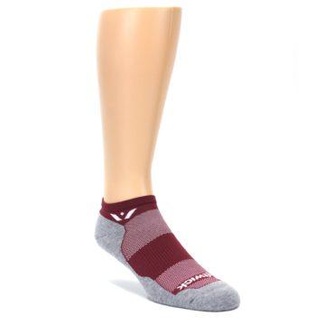 LARGE-Gray-Crimson-Maxus-Zero-Mens-No-Show-Athletic-Socks-Swiftwick