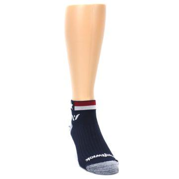 Image of Navy American Flag Men's Ankle Athletic Socks Socks (side-1-front-03)