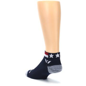 Image of Navy American Flag Men's Ankle Athletic Socks Socks (side-2-back-15)