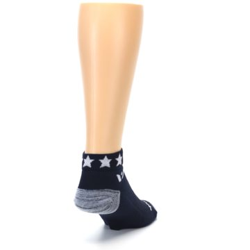 Image of Navy American Flag Men's Ankle Athletic Socks Socks (side-1-back-20)