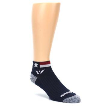 Image of Navy American Flag Men's Ankle Athletic Socks Socks (side-1-27)