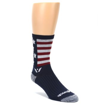 Image of Navy American Flag Men's Crew Athletic Socks (side-1-front-01)