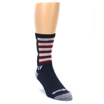 Image of Navy American Flag Men's Crew Athletic Socks (side-1-front-02)
