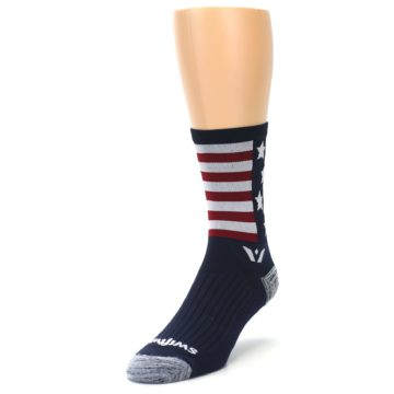 Image of Navy American Flag Men's Crew Athletic Socks (side-2-front-07)