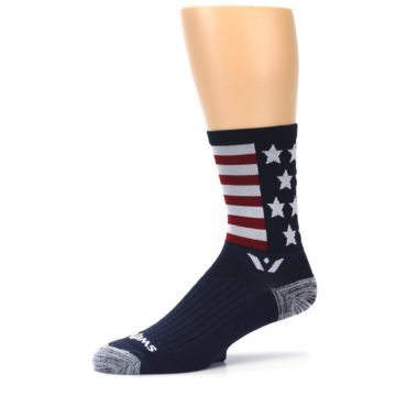 Image of Navy American Flag Men's Crew Athletic Socks (side-2-10)