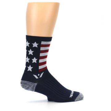 Image of Navy American Flag Men's Crew Athletic Socks (side-1-24)