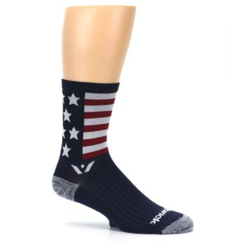 Image of Navy American Flag Men's Crew Athletic Socks (side-1-25)