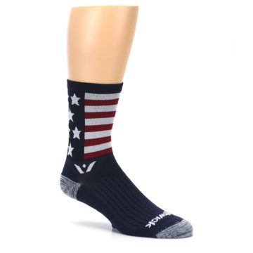Image of Navy American Flag Men's Crew Athletic Socks (side-1-26)