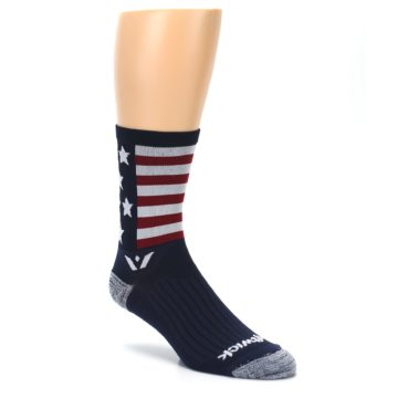 Image of Navy American Flag Men's Crew Athletic Socks (side-1-27)