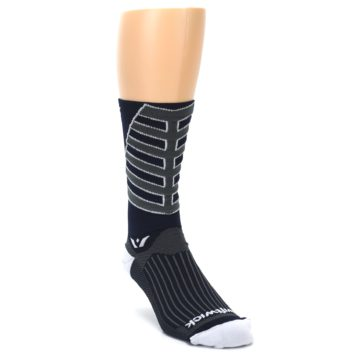 Image of Navy Vision Stripe Men's Tall Crew Athletic Socks (side-1-front-02)