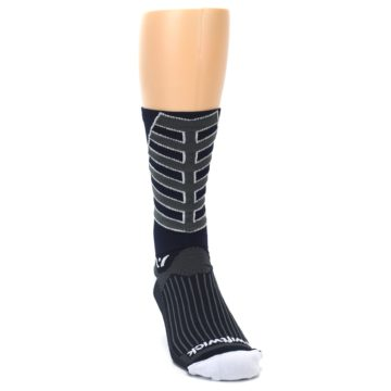 Image of Navy Vision Stripe Men's Tall Crew Athletic Socks (side-1-front-03)