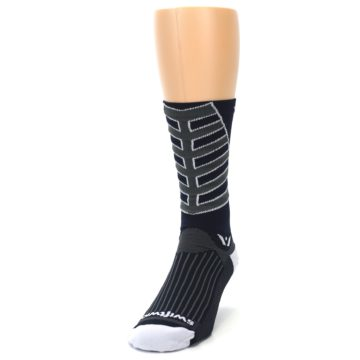 Image of Navy Vision Stripe Men's Tall Crew Athletic Socks (side-2-front-06)