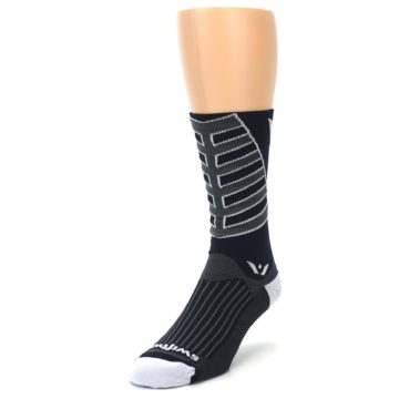 Image of Navy Vision Stripe Men's Tall Crew Athletic Socks (side-2-front-07)