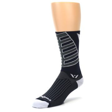 Image of Navy Vision Stripe Men's Tall Crew Athletic Socks (side-2-front-08)