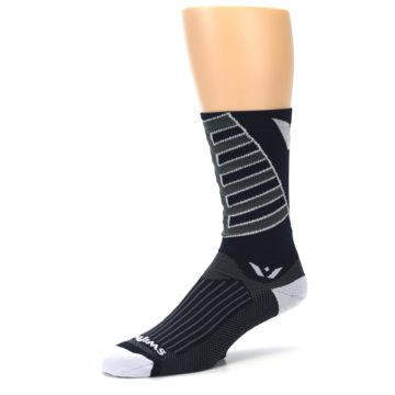 Image of Navy Vision Stripe Men's Tall Crew Athletic Socks (side-2-09)