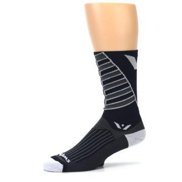 Image of Navy Vision Stripe Men's Tall Crew Athletic Socks (side-2-10)