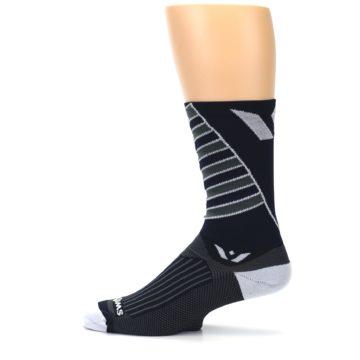Image of Navy Vision Stripe Men's Tall Crew Athletic Socks (side-2-12)